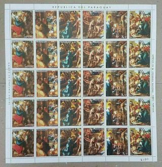 A304 1982 Paraguay Art Paintings Durer Michel 33 Euro Big Sh Folded In 2 Mnh