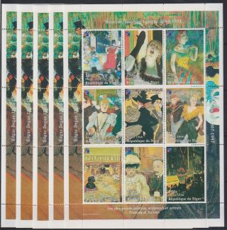 P705.  5x Niger - Mnh - Art - Lautrec - Full Sheet -