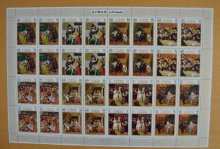 U705.  Ajman - Mnh - Art - Paintings - Full Sheet -