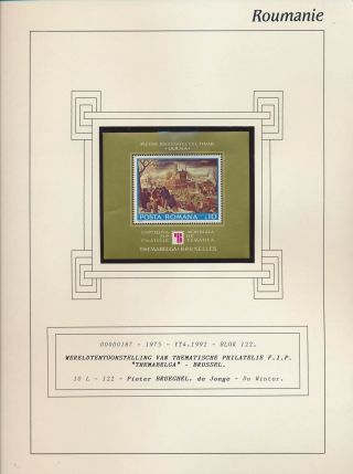 Xb71680 Romania 1975 Pieter Brueghel Paintings Good Sheet Mnh