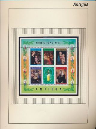 Xb71662 Antigua 1973 Madonna & Child Paintings Good Sheet Mnh