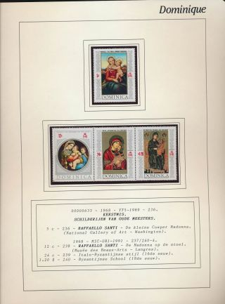 Xb71594 Dominica 1968 Madonna & Child Paintings Fine Lot Mnh