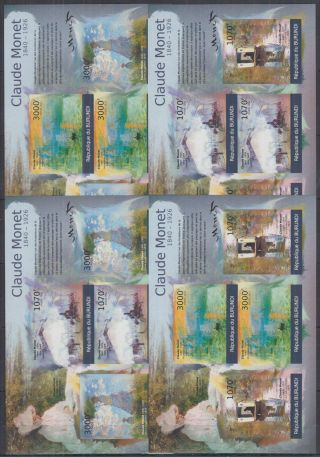 S702.  Burundi - Mnh - Art - Paintings - Claude Monet - Imperf
