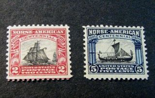 Us Stamp Scott 620 - 621 Norse - American Issue 1925 Mnh L192