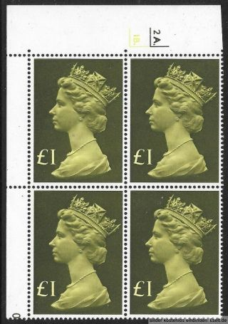 Gb 1977/87 £1 Large Machin High Value Cylinder Block Of 4.  Cyl 2a - 1b Dot.  Mnh