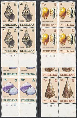 St Helena 1981 Shells Set In Plate Blocks Of 4 Mnh. . . .  51687