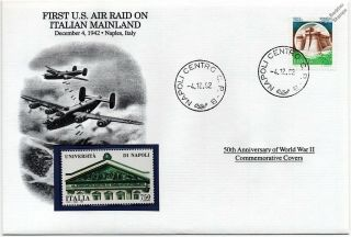 Wwii 1942 First Us Air Raids On Italy/aircraft Stamp Cover (naples/danbury)