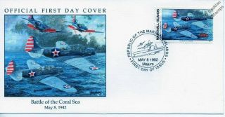 Wwii 1942 Battle Of Coral Sea Us Navy Douglas Sbd Dauntless Aircraft Stamp Fdc