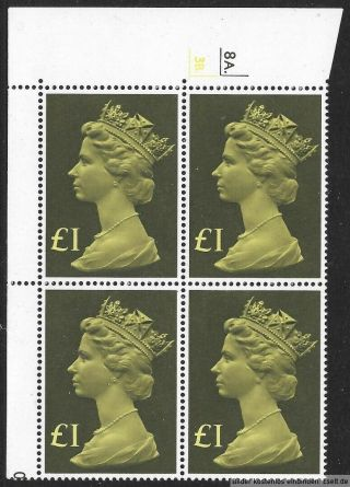Gb 1977/87 £1 Large Machin High Value Cylinder Block Of 4.  Cyl 8a - 3b Dot.  Mnh