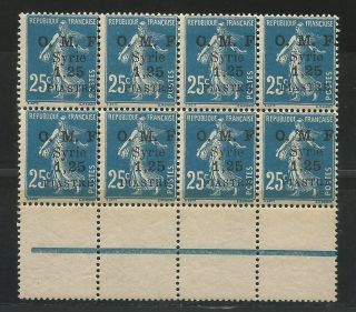French Syria 1921 Mi.  157 Block Of 8 Never Hinged