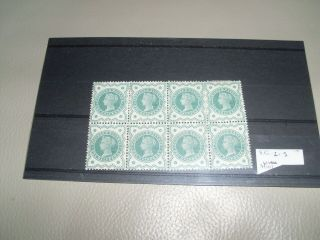 G/b.  Q/victoria,  Sg215 1/2d Green Block Of 8 Never Hinged.  See Scan.
