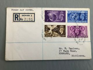 Great Britain,  1948 Olympic Games Registered First Day Cover