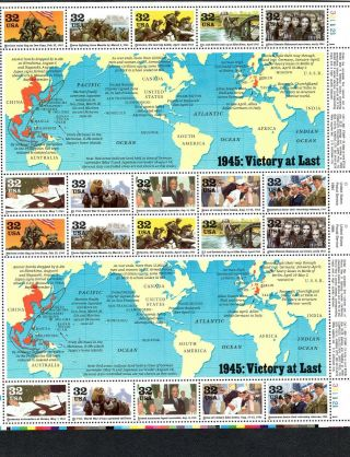 X U.  S.  Scott 2981 Sheet Mnh World War Ii 1945: Victory At Last