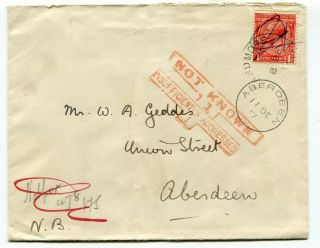 Uk Gb - Admore,  Scotland 1917 Cover To Aberdeen - Not Known Insufficient Address