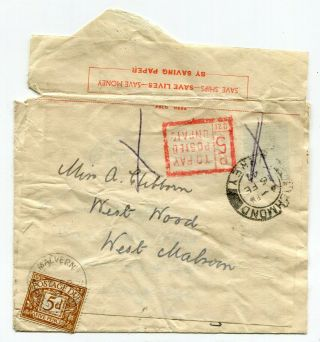 Uk Gb - 1947 Economy Reuse Cover To West Malvern - Unpaid And Postage Due