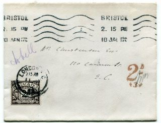 Uk Gb - Bristol 1917 Unpaid Cover To London - 2d Postage Due Applied -