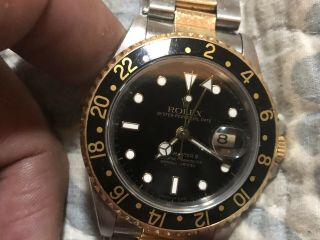 1991 Rolex Gmt - Master Ii 16713 Two Tone Stainess