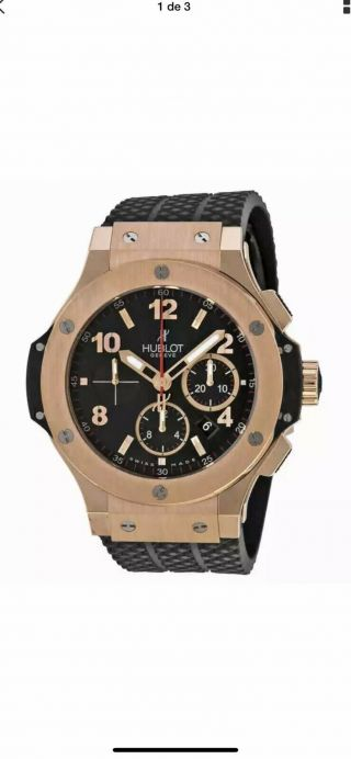 Hublot Big Bang 18kt Rose Gold Black Dial Black Rubber Men