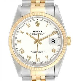 Rolex Datejust Steel Yellow Gold White Dial Mens Watch 16233 Box Papers
