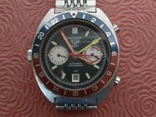 Heuer Autavia Gmt,  Chronograph,  Fabulous Dial All Stainless Steel