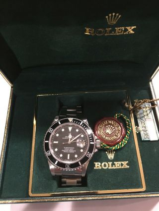 Rolex Submariner 16800 Vintage 1985 Black Dial Stainless Steel Watch With Boxes