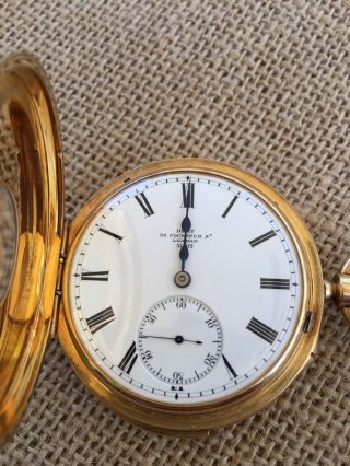 Dent London 18k Yellow Gold Triple Signed Half Hunter Repeating Watch Ca.  1900
