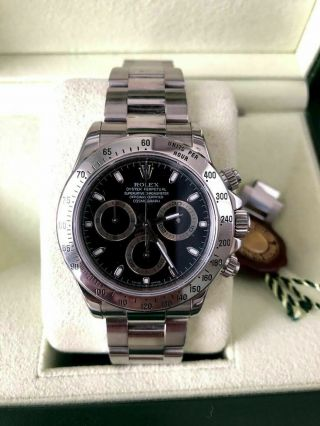 Rolex Daytona Black Dial Serial 116520 Stainless Steel Cosmograph Serviced