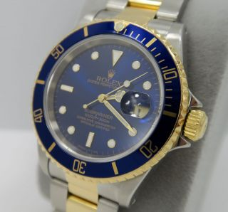 Rolex Submariner 16613 18k Gold Stain.  Steel Blue Dial - Full Service &