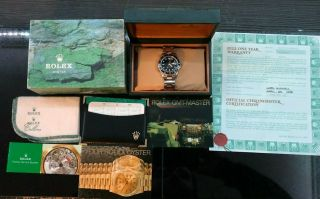 Rolex Gmt Master Ii Black Dial Two Tone Gold / Ss Oyster Bracelet Vtg Box,  Papers
