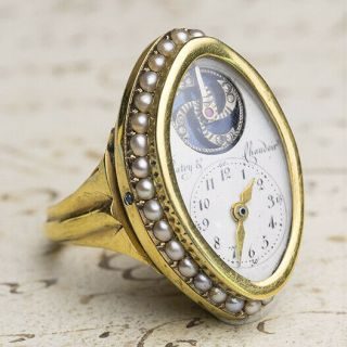 Rare Ring Watch - Visible Balance Gold Late Xviii Antique Pocket Watch