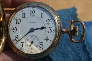 Rare Vintage Illinois 23 Jewel Bunn Special 16 Size Hunting Hunter Pocket Watch