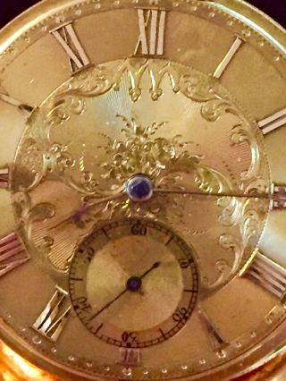 18 K Gold Large Verge Fusee Diamond Endstone Gold Dial Accurate Watch