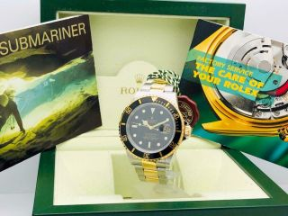 Estate Rolex Submariner 16613t Date Black Ss 18k Gold W/ Box & Books Classy