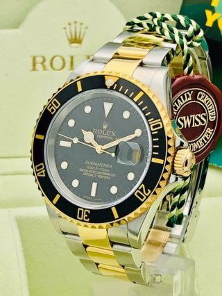Estate Rolex Submariner 16613T Date Black SS 18k Gold w/ Box & Books Classy 2