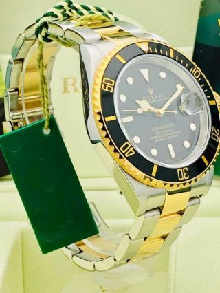 Estate Rolex Submariner 16613T Date Black SS 18k Gold w/ Box & Books Classy 8