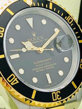 Estate Rolex Submariner 16613T Date Black SS 18k Gold w/ Box & Books Classy 9