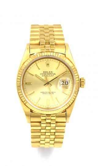 Gents Rolex Oyster Datejust 16008 Wristwatch 18k Yellow Gold Box Papers C1980