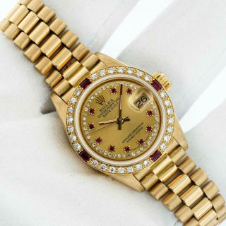 Rolex President Datejust 18k Yellow Gold Champagne String Diamond Womens Watch
