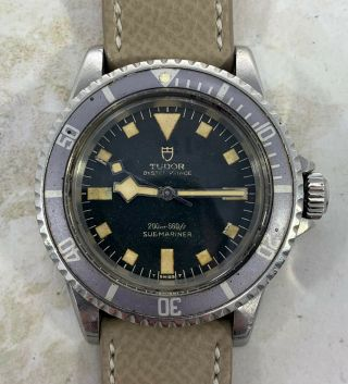 Vintage Tudor (by Rolex) Submariner Snowflake Wristwatch Ref.  7016/0 Blue Dial