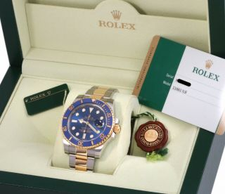 2014 Rolex 18k/ss Submariner 116613 Blue Dial/ceramic Bezel - Box & Papers/card