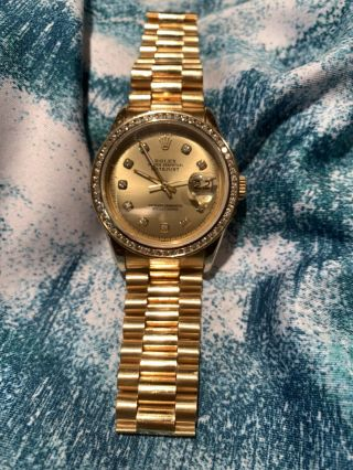 Mens Rolex Day - Date President Solid 18k Gold Watch Diamond Dial 1ct Bezel 18038