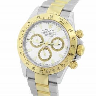 2009 Engraved Rolex Daytona Stainless Gold White Chronograph 40mm Watch 116523