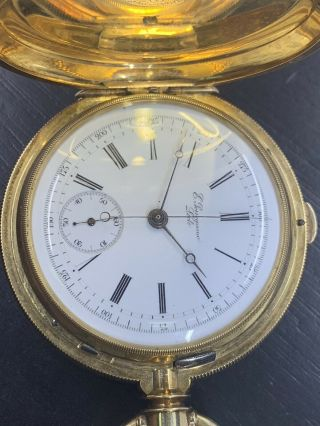 Ed.  Perregaux Locle Split Second Chronograph 18k Gold Pocket Watch 161 Grams