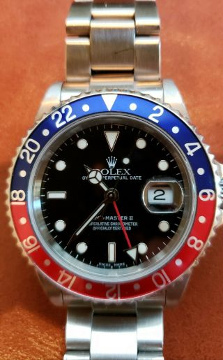 Rolex Pepsi Gmt - Master Ii,  16710,  No Holes,  Box,  Papers,  Red,  Blue,  Black Dial