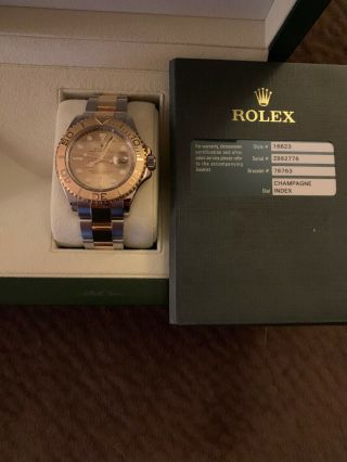 Rolex 40 Mm Mens Yacht Master 18k Gold And Steel Watch Ref 16623 Box And Card