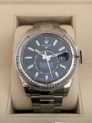 Rolex Sky Dweller Blue Baton 2019 Stainless / White Gold