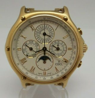 18k Ebel 1911 Perpetual Calendar Chronograph Moonphase 134 -.  750 Fine Gold F118