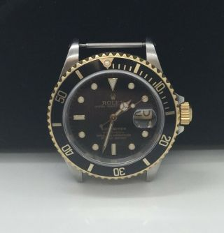 Rolex Stainless & 18k Submariner Watch 16613 Serial L Black Dial