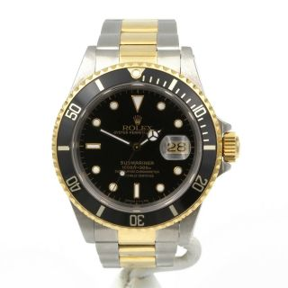 Two Tone S/s 18k Gold Rolex Op Date Submariner Black Rotating Bezel Watch 6619
