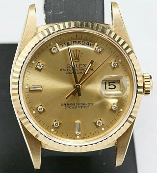 Swiss Made Rolex Presidental Day - Date 18238 Yellow Gold Factory Diamond Dial